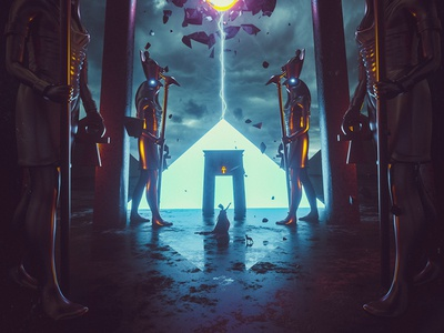 Call of the Ancient Gods landscape artwork c4d photomanipulation digitalart illustration adobe photoshop art behance