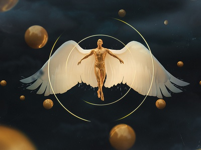 Soul of Gold angel fly man illustration 3d behance elshamy amr art digital