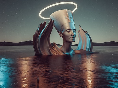 Infinity - Experiment 14 nefertiti landscape egypt fly man illustration 3d behance elshamy amr art digital