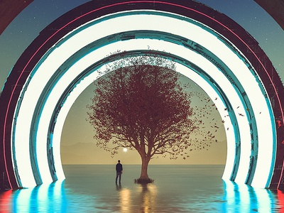 Forbidden - Experiment 15 landscape c4d fly man illustration 3d behance elshamy amr art digital