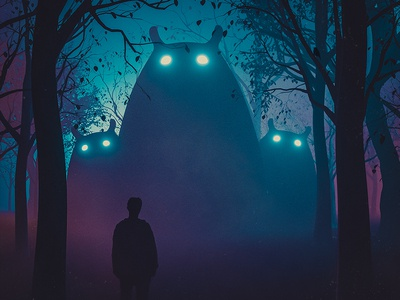 The Reunion forest woods landscape man boy mixed media artwork hotamr 3d monsters digital c4d digitalart elshamy amr adobe photoshop art illustration behance