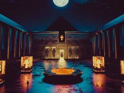 Ankh pyramid stars moon key fire octane art night artwork landscape digitalart egypt c4d adobe hotamr digital illustration 3d photoshop behance