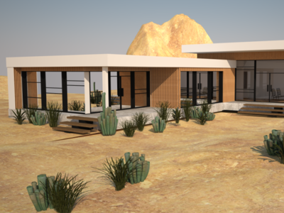 Materialization Desert house cinema4d visualisations render create architechture