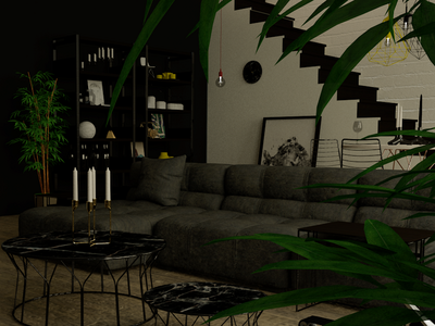 Interiorvisual 'darkside style' living room visuals rendering interiordesign illustration drawings design interior cinema4d visualisations render create architechture