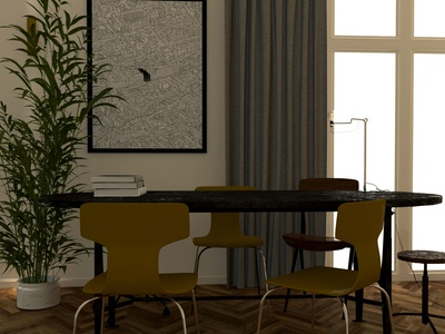 Apartment #1 dining room visual architecture happiness art book modern living room art concept rendering drawings visuals interiordesign design illustration cinema4d architechture visualisations render create interior