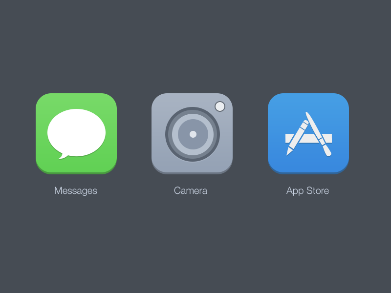 Ios7 Icons ios7 ui design icons messages camera app store green grey blue