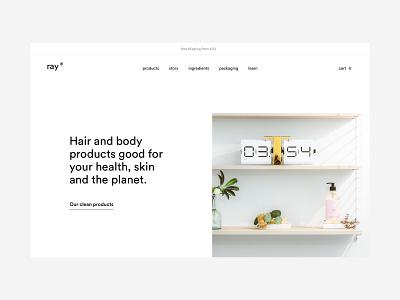 ray hero minimal conditioner shampoo hero homepage cosmetics haircare skinncare design ux ui