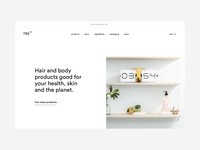 ray hero minimal conditioner shampoo hero homepage cosmetics haircare skinncare design ux ui
