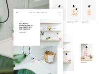 ray homepage minimal body lotion conditioner shampoo webshop ecommerce cosmetics design ux ui