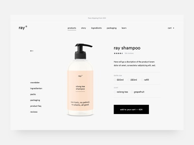 Ray Product skinncare cosmetics shampoo ecommerce webshop design ux ui
