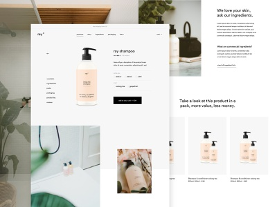 ray product page productpage product landingpage webshop skinncare conditioner shampoo cosmetics ecommerce ux ui design