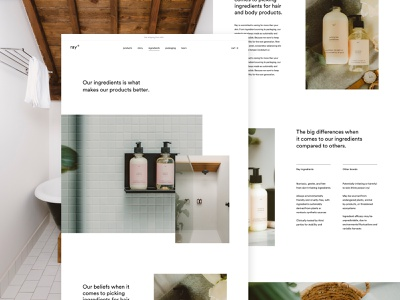 ray ingredients page webshop ecommerce inner page landing ingredients product skinncare conditioner shampoo design ux ui