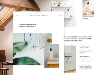 ray story page story about page landing minimal conditioner shampoo skinncare cosmetics webshop ecommerce design ux ui
