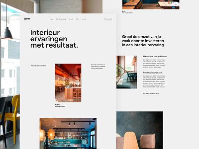 Inside homepage home landing page agency retail restaurant bar interior design ux ui