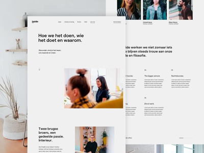 inside about page page landing story values team about studio agency interior design ux ui