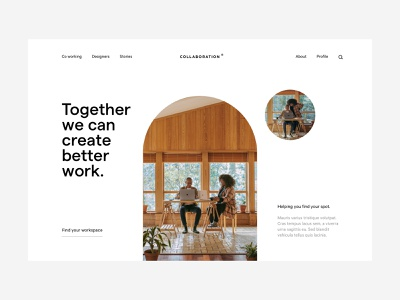 Coworking hero interior friendly soft shapes working co design ux ui