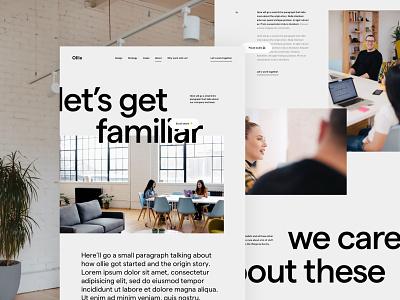 About page creative studio portfolio creative studio agency layout typography minimal landing web page about design ux ui