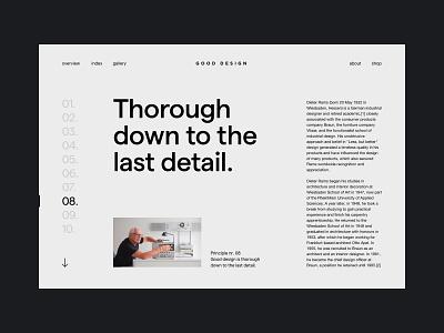 Layout Exploration Rams navigation editorial typography layout design good 10 principles rams dieter rams ux ui