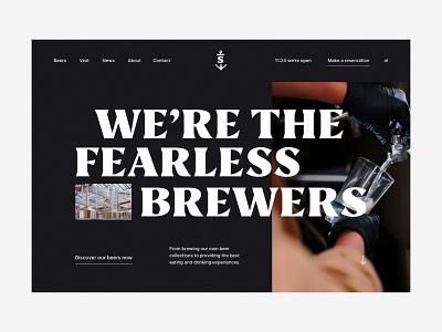 Stadshaven brewery hero typography big type video restaurant bar drinks beer brewery section hero design ux ui