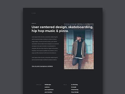Portfolio 2017 - About Me dark ui about me about page webdesign portfolio
