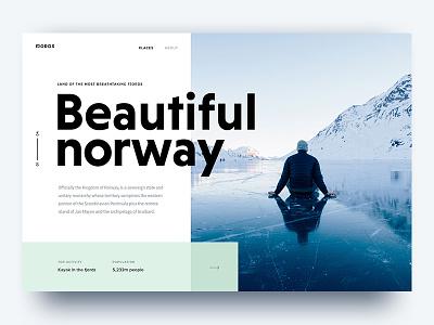 Beautiful Norway typography nature norway card web ui