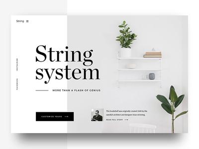String System product serif shelf furniture design string ux ui