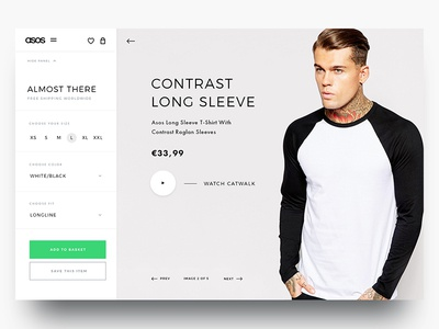 Asos Product video shirt ecommerce webshop product filters ux ui