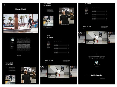Skater Detailpage about bio video skateboarding profile page inner detail ux ui