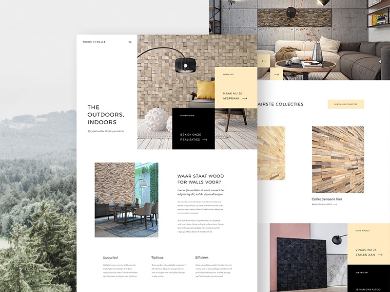 Woodforwalls - Home furniture wood interior homepage design ux ui