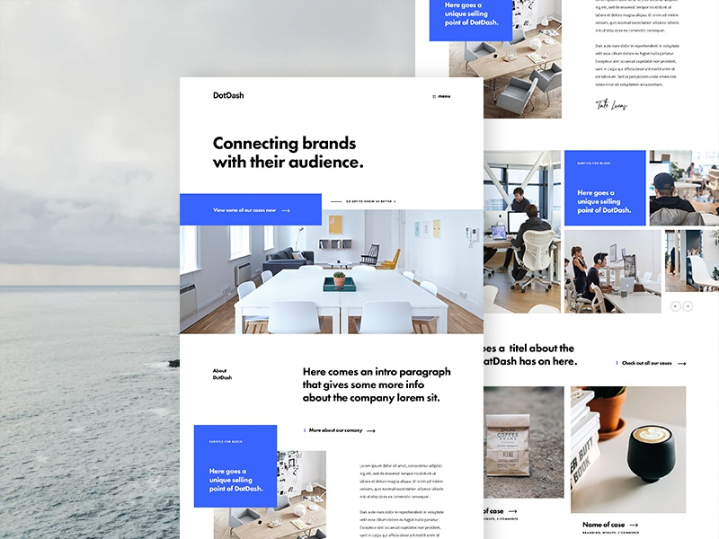 Dotdash Home blue studio agency landing page home design ux ui