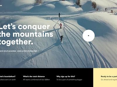Boardathon principle snowboarding onboard pageload animation ux ui