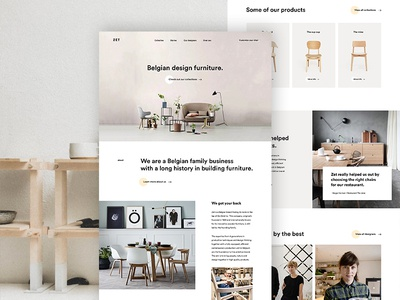 Zet Homepage ui ux animation title design furniture chair tables pageload onboard