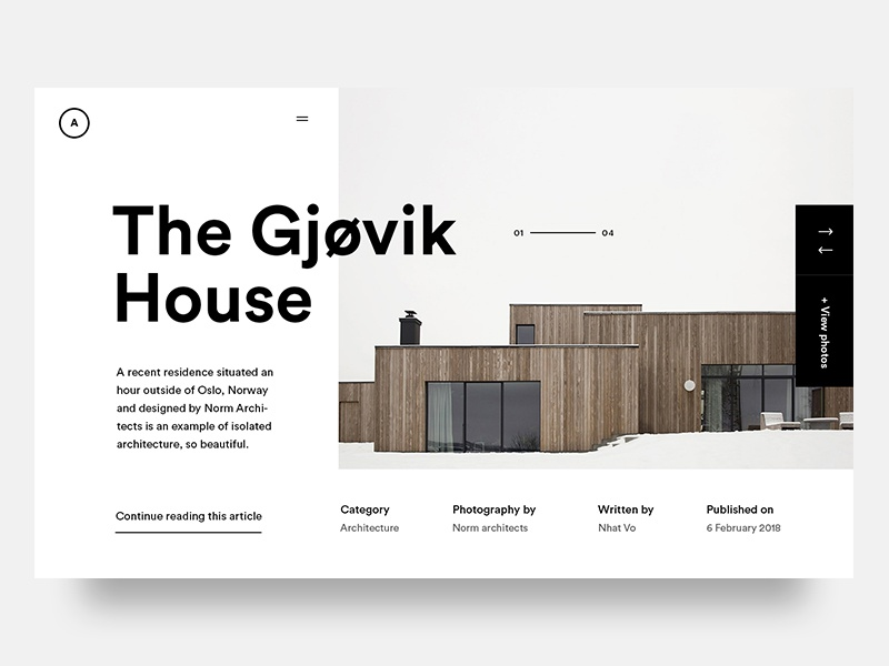Gjovik House slider type architecture design ux ui