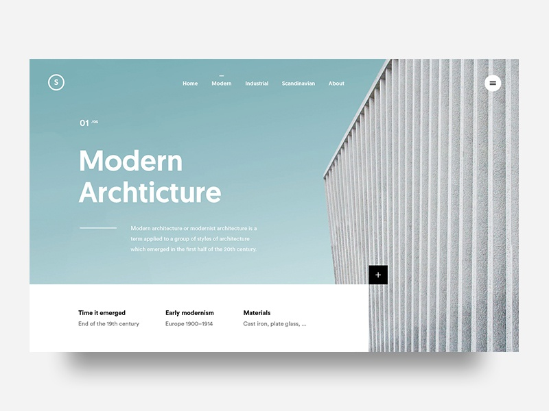 Modern Architecture interaction homepage design landing architecture ux ui