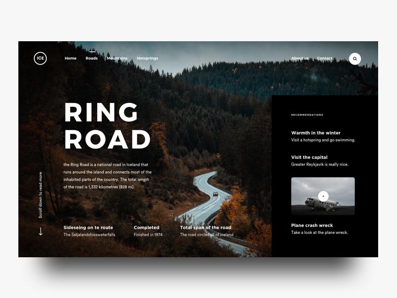 Ring Road norway iceland landing page car nature design ux ui