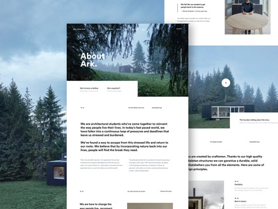 About Page house cabin nature outdoor about page minimal landing design ux ui