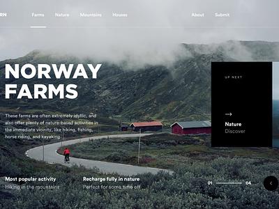 Norway Farms slider nature norway design ux ui