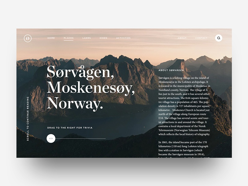 Sørvågen typography scroll detailpage destination travel design ux ui