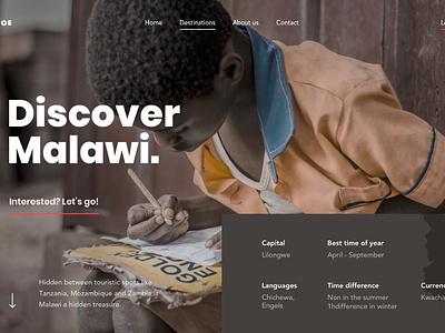 Discover Malawi destination detailpage hero travel design ux ui