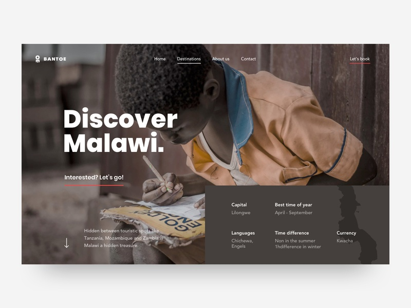 Discover Malawi destination detailpage hero travel design ux ui