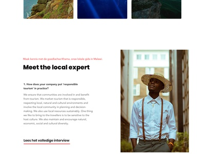 Destination Full Page responsible honest travel africa page landing design ux ui
