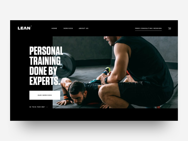 Personal Training page personal training fitness sport design ux ui