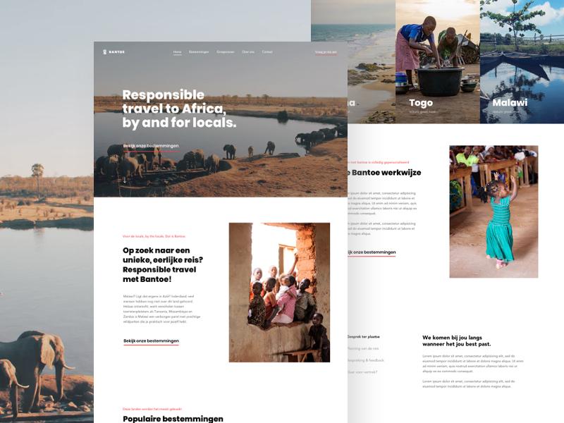 Bantoe Home travel responsible home page landing homepage web design ui