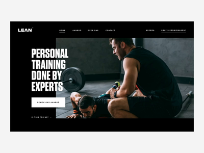 Lean Pageload trainer training personal sport workout principle interaction pageload animation homepage web design ux ui