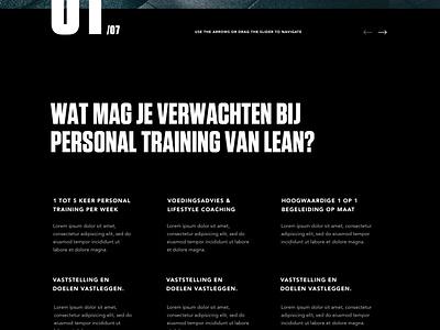 Service Detail Page type dark black personal trainer sport serives page landing web design ux ui