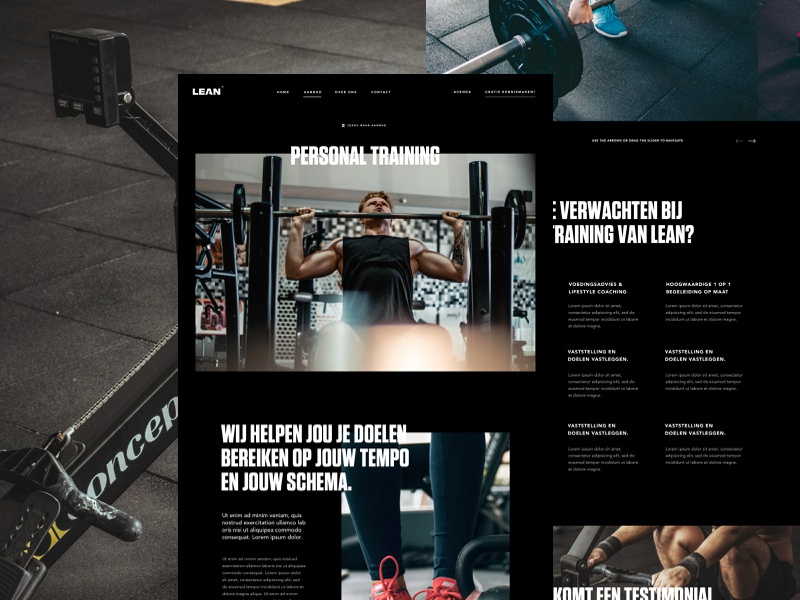 Service Detail Page type dark black personal trainer sport serives page landing web design ux ui