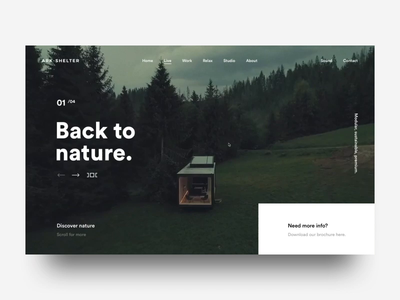 Ark-Shelter on awwwards woods shelter transition landing website nature design ux ui