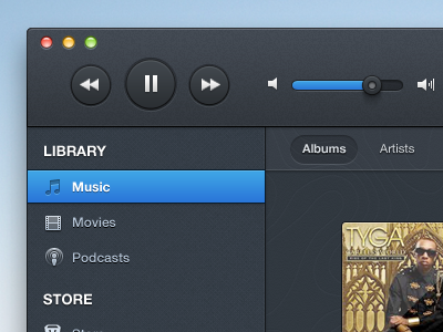 Dark Itunes (FREE PSD) ui design software itunes dark buttons sliders albums