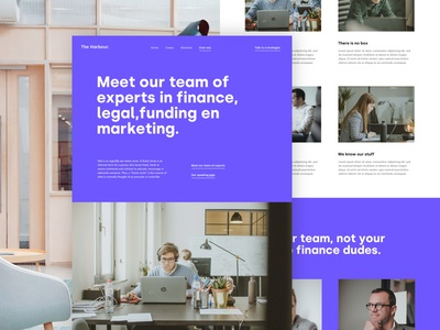 The harbour about page values team about landing page web ux ui design