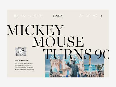 Happy birthday Mickey walt disney mickeymouse serif typography editorial ux design ui